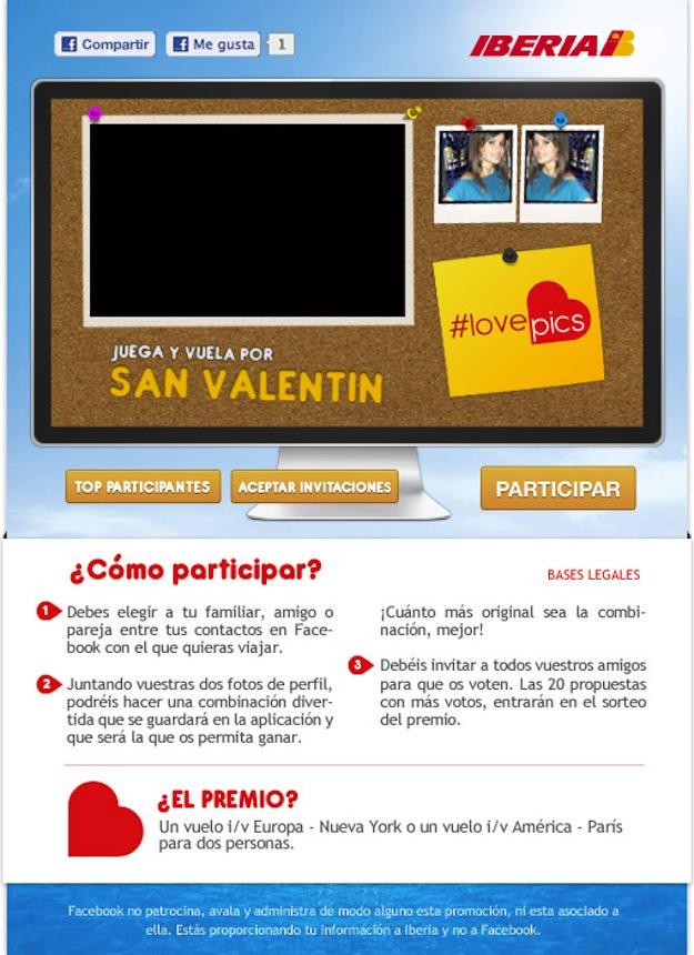 Campaña De San Valentín De Iberia En Facebook 'Love Pics'