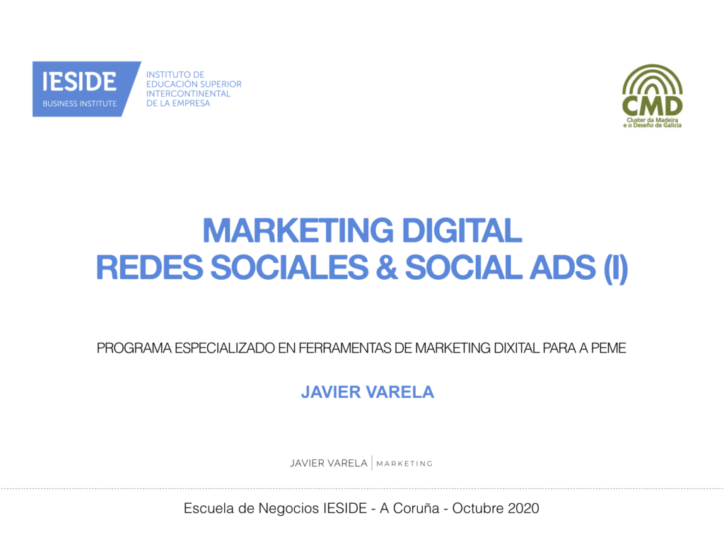 Portada - Curso - Marketing Digital - Javier Varela - IESIDE - Cluster Madeira